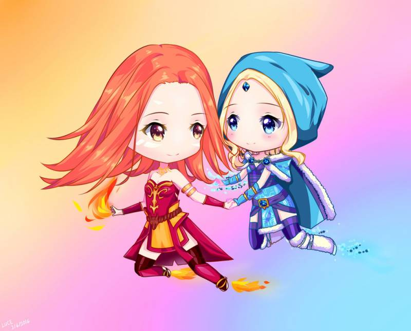 chibi Crystal Maiden and Lina by luce 1024x825